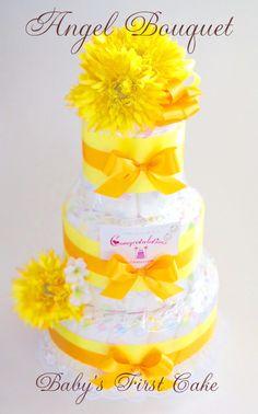 エンジェルブーケおむつケーキ・KARIN☆ VIVID なカラーで、ボリュームのあるブーケ元気な赤ちゃんとママを祝して Congratulation! [ 大きさ (約)W30xD30xH50cm ] [ 内容 : 紙オムツ(S41個、M37個):~、アートフラワー、リボン、レース、カード ]