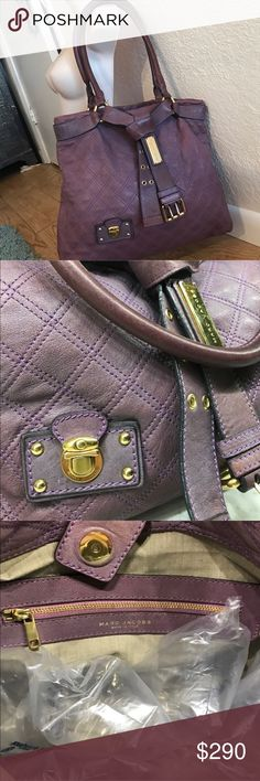 🔥LAST DAY🔥 Marc Jacobs Lux Bruna Casey Bag Fabulous purple quilted Marc Jacobs bag. This is not Marc by Marc Jacobs but he higher end brand. Some overall wear from moderate use. Very clean interior. While some of MJ's bags can be heavy (even empty) this one is not. While it it does have quality leather it's not overwhelming on your shoulder. A great every day bag. Some minor damage to piping on handles as shown. Bruna Casey model. OPEN TO TRADE. Marc Jacobs Bags Shoulder Bags