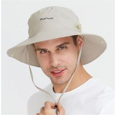 6a8d55dbebb Summer fishing hat for men outdoor hiking bucket hat with string