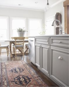 Bring a muted kitchen to life with one of our Hamedan Persian Rugs! Kitchen Dinning, Kitchen Rug, Kitchen Design, Kitchen Decor, Kitchen Ideas, Kitchen Styling, Dining Room, Scandinavian Modern, Furniture Plans