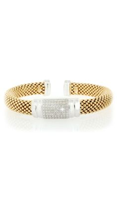 Yellow Gold Large Mesh Cuff with Diamond Center by Savvy Cie