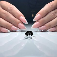 Classic French Manicure with Rhinestones picture 2