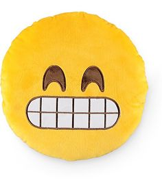 Liven up your pad with this emoji inspired throw pillow made with an ultra soft plush construction with an embroidered grinning face at the front and a poly fiber fill.