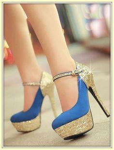 Golden Blue Prom Foot Wears