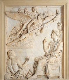 Apotheosis of Sabina, wife of the emperor Hadrian who assists at the funeral pyre as his wife ascends to heaven on the shoulders of a winged goddess holding a torch. Marble relief from Arco di Portogallo. 2nd century CE. Rome, Palazzo dei Conservatori.