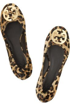 TORY BURCH Reva leopard-print calf hair ballet flats | to spice up preppy outfits