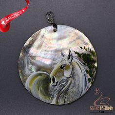 JEWELRY NECKLACE HAND PAINTED HORSE SHELL PENDANT ZL3005122 #ZL #Pendant