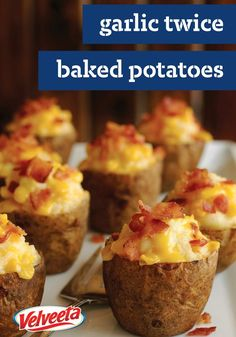 Roasted Garlic Twice Baked Potatoes – Fresh roasted garlic swirled into a baked potato with VELVEETA and Parmesan cheese, then baked again. You'll be thanked every time these delights appear on the dinner table.