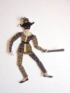 Miniature Harlequin Jointed Paper Doll, via Etsy.