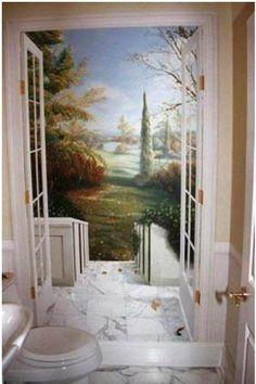schildering muur in wc