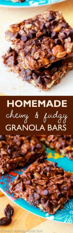 No-Bake Chewy Fudge Granola Bars - peanut butter, chocolate, so simple!! Recipe on sallysbakingaddiction.com