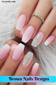 If you're not a fan of tacky Brown Nails Designs or if you love unusual nail art design but you're somehow busy or lazy to do an hour manicure treatment, here's a solution! These stunning minimalist nails will assure you that less is more. Nails Kylie Jenner, Pink Ombre Nails, Nail Pink, Nagel Hacks, Wedding Nails Design, Bride Nails, Minimalist Nails, Best Acrylic Nails, Pretty Nail Art
