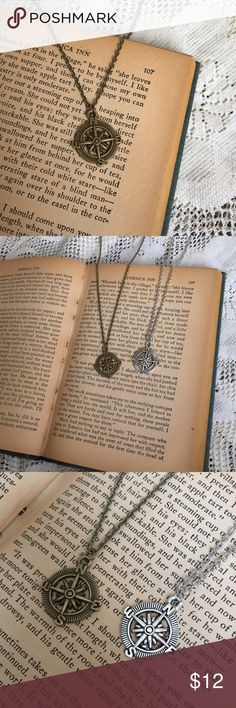 Bronze or Silver Compass Necklace Upon purchase, please specify whether you would like bronze or silver. I currently have 2 of each color left in stock. Please feel free to ask questions and I'd be happy to bundle up a few of your favorites at a discounted price!! :) Jewelry Necklaces