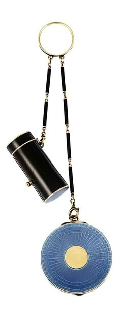 Art Deco Gold, Blue Guilloche Enamel and Black Enamel Rouge Pot and Lipstick Case, by Cartier - With mirror, c. 1920