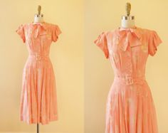 Vintage 1930s Dress - 30s 40s Dress - Pink Rayon Novelty Deco Dress w Bullet-Shaped Jewels S - Bubbling Over