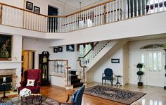 Two-story living room in Cicero, NY.