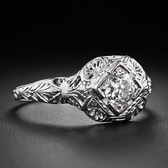 Art Deco Diamond Filigree Solitaire Ring