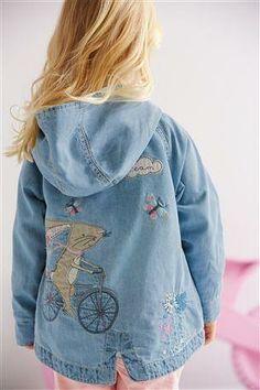 Buy Denim Mid Blue Embellished Denim Jacket (3mths-6yrs) online ...