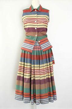 Cotton, woven stripes skirt and blouse. Stylish Dress Book, Stylish Dresses, Skirt Fashion, Fashion Dresses, Tartan Dress, Stripe Skirt, Rock, Textile Design, Color Patterns