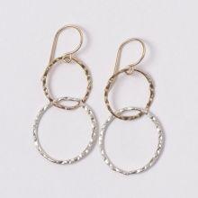 Goldfill & Sterling Silver Hammered Link Earrings #mixedmetals #linkearrings #dainty #lightweight #simple www.jewelya.com