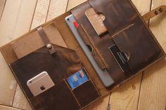 Leather Portfolio Tablet Notebook Covers Custom iPad Pro Covers handmade Leather Planner Travel Organizer Apple Pencil Sleeve - Ipad Pro - Trending Ipad Pro for sales.