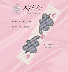 Bead loom pattern - lovely elephants LOOM bracelet pattern in PDF - instant download