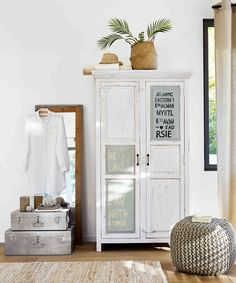 White bedroom storage | Mango wood wardrobe in white | Maisons du Monde