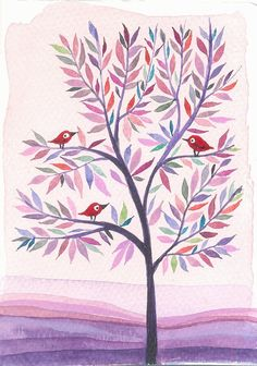 Purple Tree - original watercolor painting - illustration - landscape -tree -birds