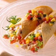 Chicken Burritos If you yearn for Mexican food but want a low-fat, low-calorie option, try this colorful mango salsa-topped chicken burrito recipe.
