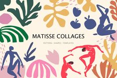 Matisse collages art by Ailuj Art Shop on Creative Market Matisse inspired drawi. Matisse Art, Henri Matisse, Matisse Cutouts, Ecole Art, Instagram Story Template, Photoshop Design, Photoshop Actions, Free Graphics, Abstract Shapes