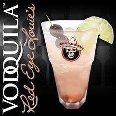 Ingredients: 2oz Vodquila, 3oz Cranberry Juice, Lime Cordial, Black Olives Fill Rock Glass with Ice, Pour Vodquila, Add Cranberry Juice and Cordial, Stir, Garnish with Black Olives and a Lime Wedge.