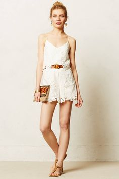 Cute Ivory Lace Romper