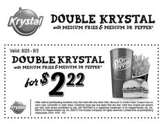Pinned August 29th: Double burger + medium fries + drink just $2.22 at #Krystal restaurants #coupon via The #Coupons App