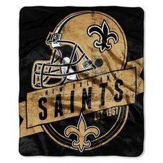 New Orleans Saints Blanket - 50x60 Royal Plush Raschel Throw - Touchback Design
