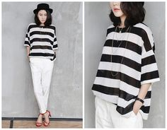 women stripe top in white and blackhalf by HerselfStudios on Etsy