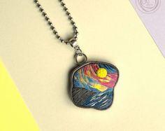 Unique author's pendant. Faux hand embroidery. Each от GFArtStore