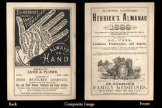 Front and rear views of Dr. Herrick's Almanac for 1888. Herrick made patent medicines for people and livestock.  Great black-and-white engraved visuals on the cover of this old monthly calendar.