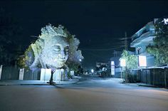 Projection mapping in trees by Clement Briend
