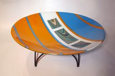 """Fuser's Reserve glass, strikingly offset by delicate reactions in the orange and blue. 17"""" bowl. Gertie Zeiter"""