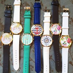 Fashion watches, floral, anchor, feather, map New. Only the white floral one (first from the right) is available, the rest is sold. Thank you for visiting my closet, I offer great discounts on bundles  lucy6mahon Accessories Watches