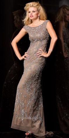 Flowers on vine sequined evening dress by Scala  #edressme