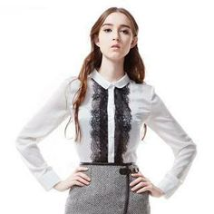 Long-Sleeve Lace-Front Blouse from #YesStyle <3 Power Sweet YesStyle.com