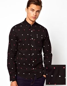 ASOS Shirt in Long Sleeve with Playing Card Print