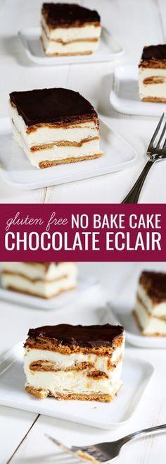 Gluten Free No Bake Chocolate Eclair Cake