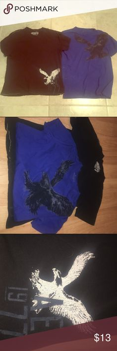 American Eagle Tee Bundle✨ Blue American eagle shirt never worn no stains no damage. Black American tee with white lettering minor hole microscopic to a blind eye though hardly noticeable. American Eagle Outfitters Tops Tees - Short Sleeve
