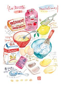 Kitchen art print French cake recipe Madeleines illustration Watercolor food poster Bakery via Etsy Cake Illustration, Food Illustrations, Watercolor Illustration, French Illustration, Kitchen Poster, Kitchen Wall Art, Kitchen Decor, Bakery Kitchen, French Cake