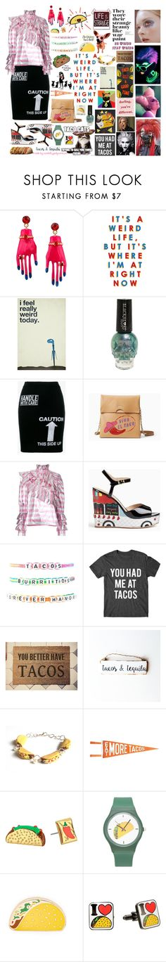 """""""Weird Girls Love Tacos!"""" by curekitty ❤ liked on Polyvore featuring EMILY THE STRANGE, Moschino, Kate Spade, CC, Alessandra Rich, Forever 21, Three Potato Four, PINTRILL and Cufflinks, Inc."""