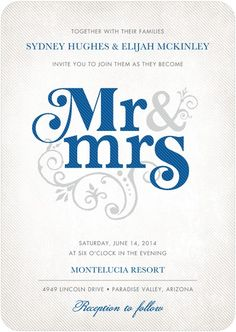 For the modern bride, this chic template has bold typography front and center to create a timeless wedding invitation. Find more invitations and save the date cards on WeddingPaperDivas.com. Starting from $1.64 per invitation.