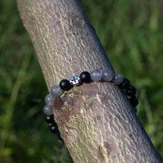 Stretch bracelet for men, Cross, Matte Onyx & Cloudy Quartz, Religious style Stretch Bracelets, Bracelets For Men, Beaded Bracelets, Elastic Thread, Quartz Stone, Pouch Bag, Bones, Glass Beads, Gemstones