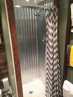 corrugated metal shower galvanized metal roofing lining the shower walls is amazing corrugated metal walk in shower Rustic Bathroom Decor, Industrial Bathroom, Rustic Bathrooms, Bathroom Ideas, Rustic Industrial, Rustic Decor, Man Bathroom, Basement Bathroom, Bathroom Designs